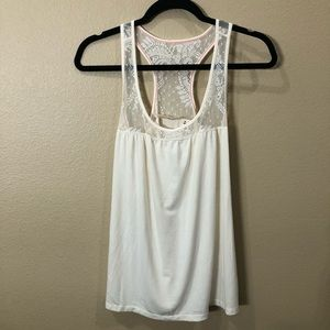 DKNY Jeans Cream Tank Top With Lace